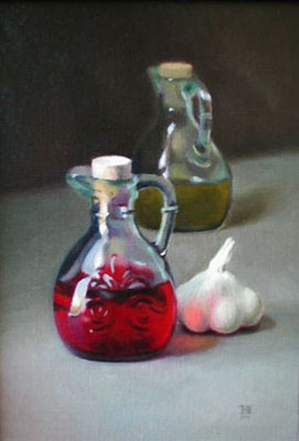 Painting of a garlic clove and red vinegar
