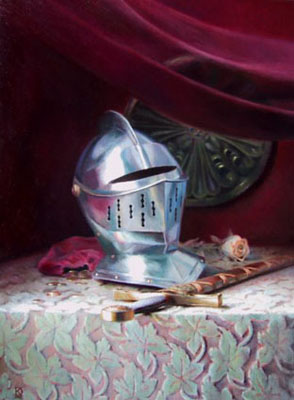 Painting of helmet and sword