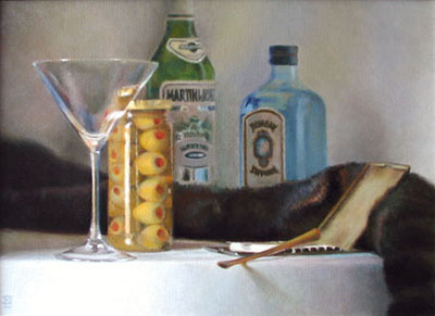 Painting of martini glass, olives, and cigarettes