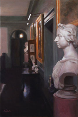 Painting of busts of Victoria and Albert at Old Battersea House, London