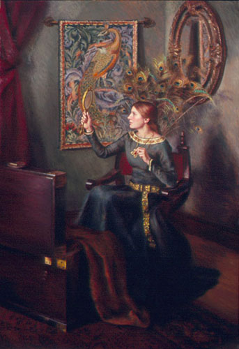 Painting of woman gazing into a mirror