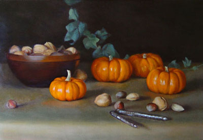 Painting of pumpkins and nuts