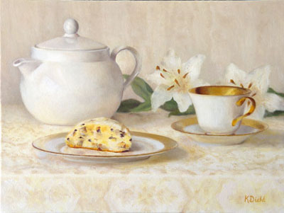 Painting of tea and scones